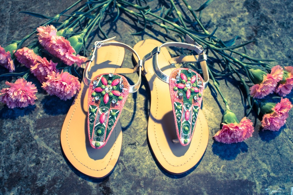 Floral Beaded Flat Sandals
