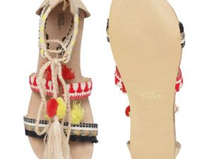 Pom pom Red-Yellow sandals