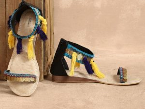 Yellow Tassel Sandals