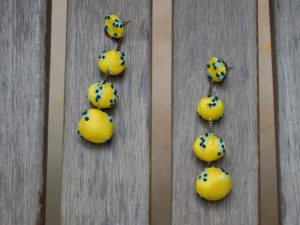 Bubble Drop Yellow Bead Earrings