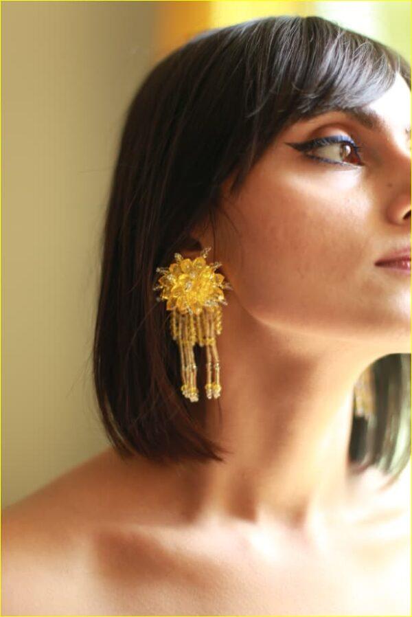 Blossom Yellow Bead Earrings