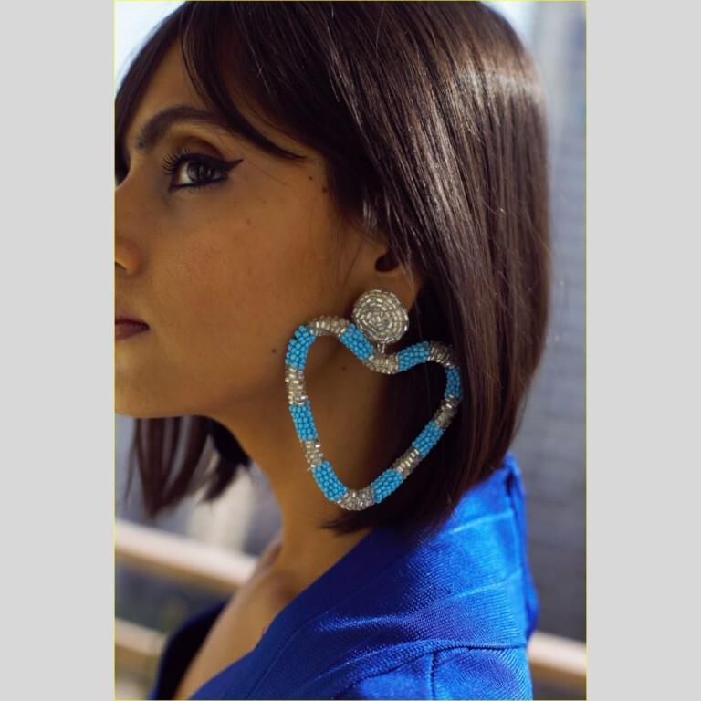 Heart Blue Bead Earrings