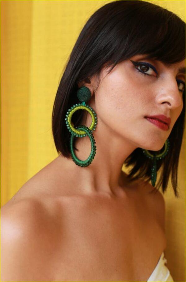 Crystal Green Bead Earrings