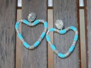 Heart Blue Bead Earrings