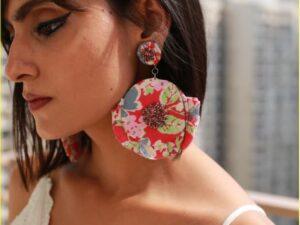 Print Red Bead Earrings