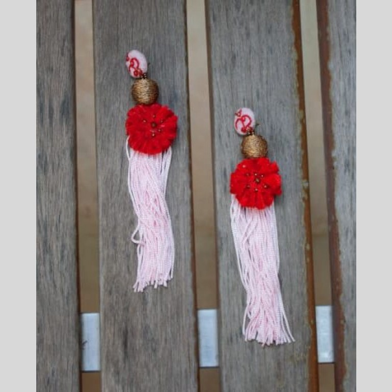 Party On Red Bead Earrings