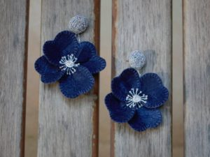 Bloom Navy Bead Earrings