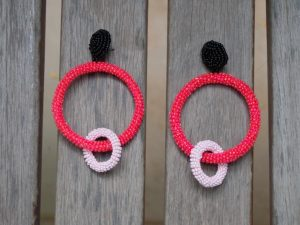 Hoopla Red Bead Earrings