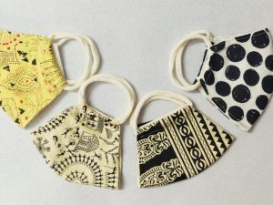 Worli Lemon Block Polka Print Mask