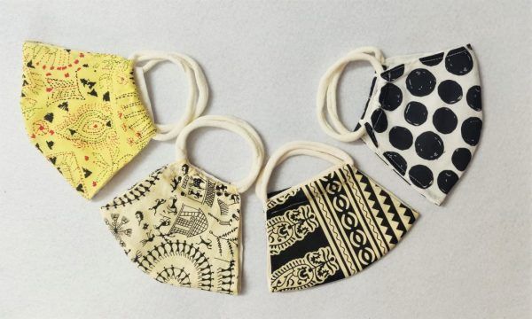 Worli Lemon Block Polka Print Mask
