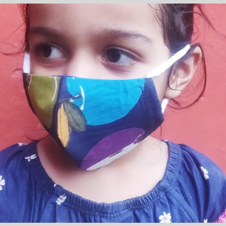Kids Cotton Apple Print Mask (Set of 4) |