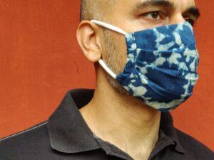 Ikkat Indigo Print Mask
