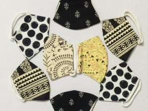 Cotton Worli Lemon Block Polka Print Masks Set