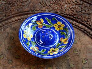 Blue Pottery Stick Holder | Floral Incense Stick Holder | Blue Floral Incense Holder