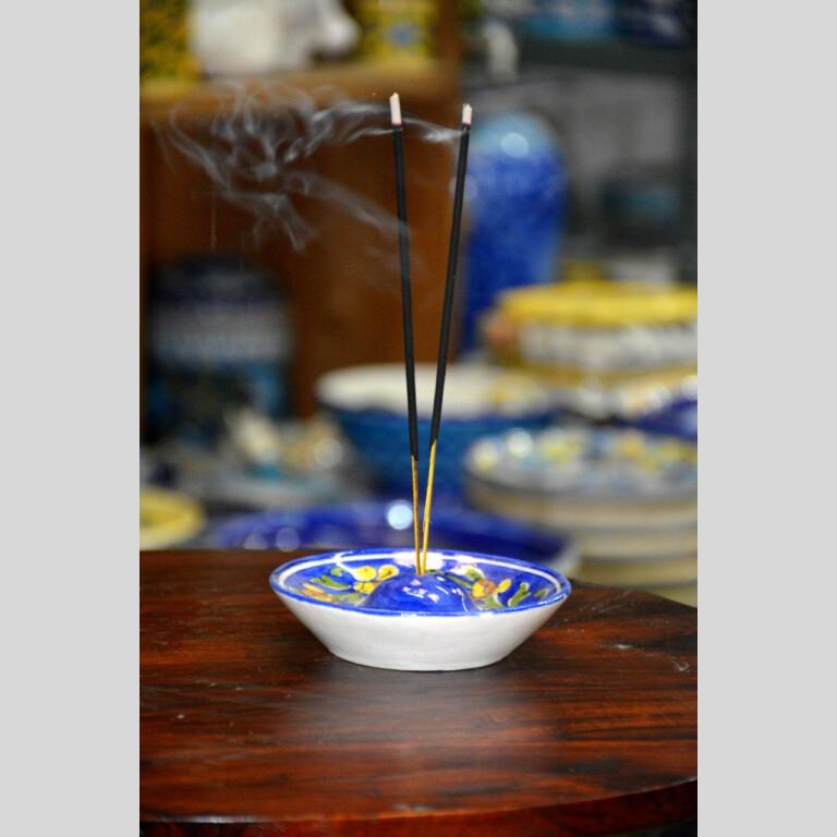 Blue Pottery Floral Incense Stick Holder
