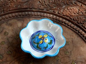 Handcrafted Lotus Incense Holder | Lotus Incense stick Holder | Blue Pottery Incense Holder | Blue Pottery