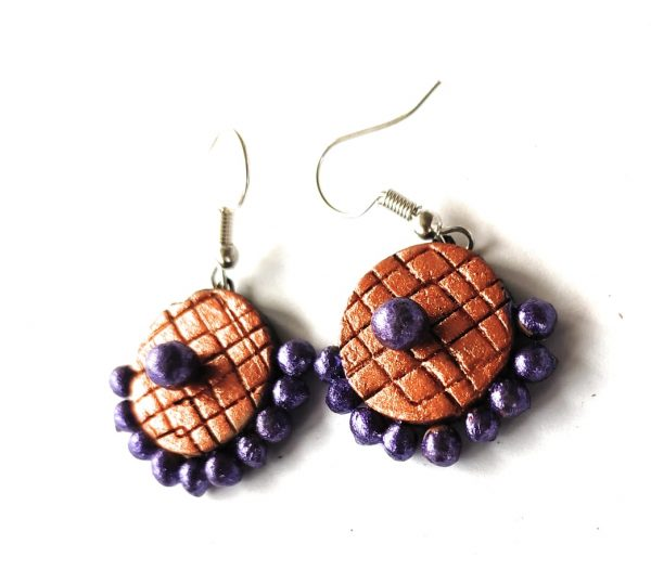 Orange Meets Purple Small Sized Terracotta Earrings | Small Sized Terracotta Earrings