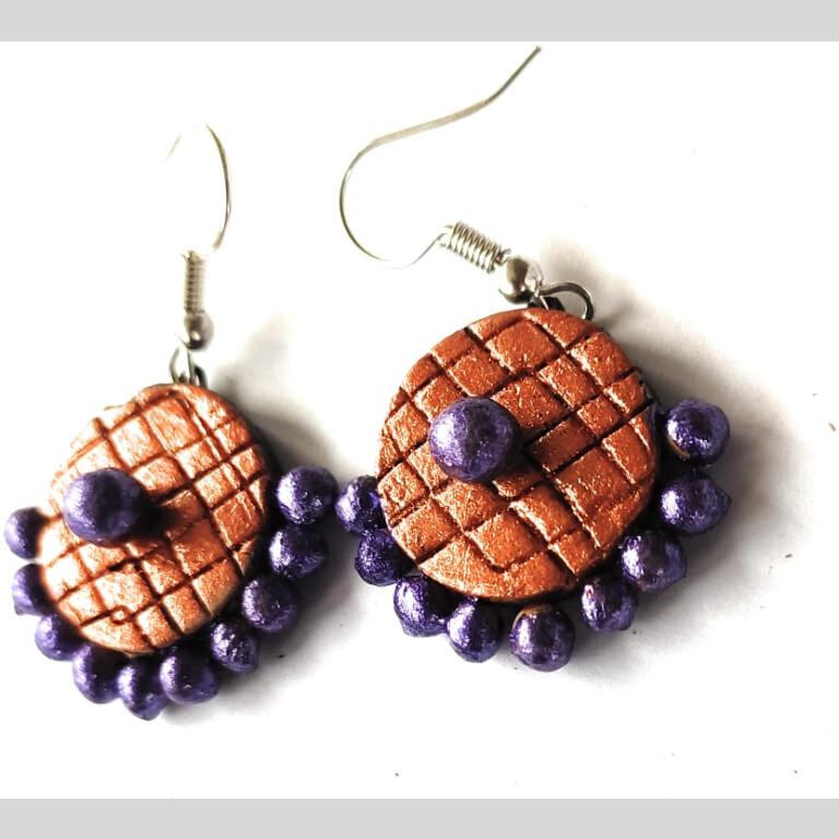 Orange Meets Purple Small Sized Terracotta Earrings   Small Sized Terracotta Earrings