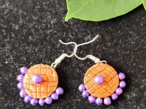 Orange Purple Small Sized Terracotta Earrings