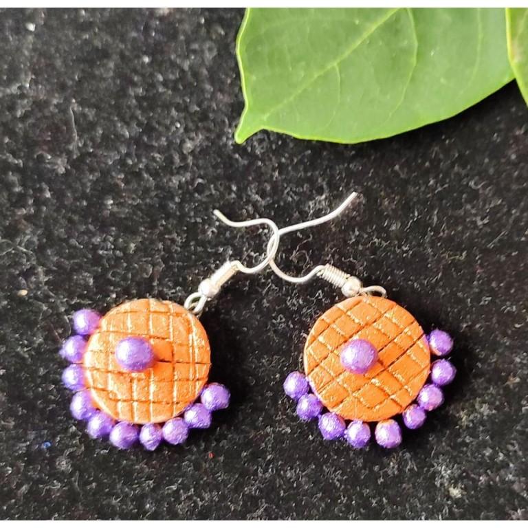 Orange Purple Small Sized Terracotta Earrings