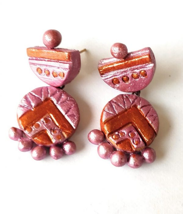 Peach Pink Small Sized Terracotta Earring | Peach Pink Small Sized Terracotta Earring |