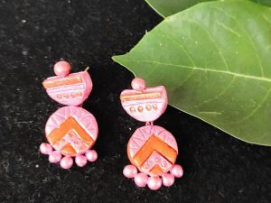 Peach Pink Small Sized Terracotta Earring