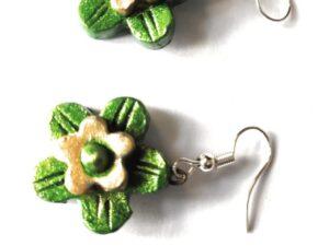 Small Sized Terracotta Earrings | Flower Shaped Terracotta Earrings | Green and Golden Terracotta Earrings
