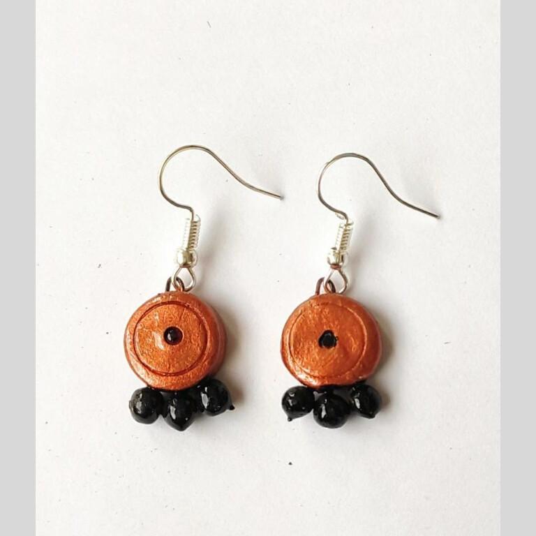 Black and Orange Terracotta Earrings
