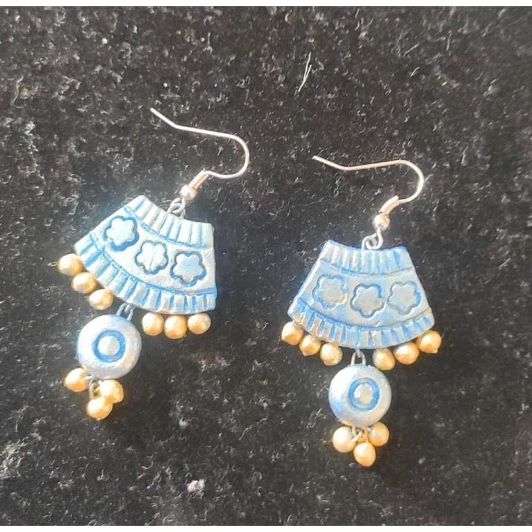 Sky Blue Small Sized Terracotta Earrings