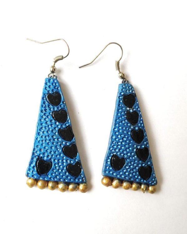 Terracotta Big Sized Earrings | Triangle Terracotta Big Earrings | Blue And Black Triangle Earrings