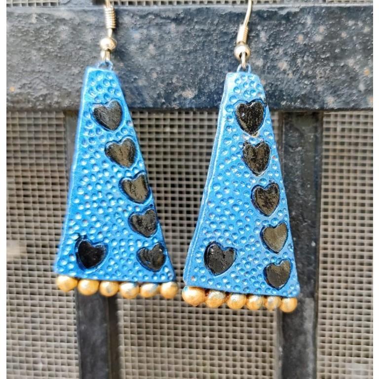 Blue Black Triangle Big Sized Earrings