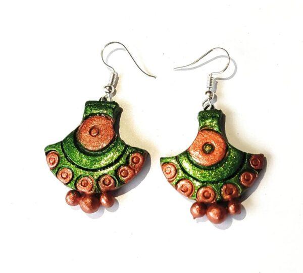 Arc Shaped Terracotta Earrings | Arc Shaped Green Earrings