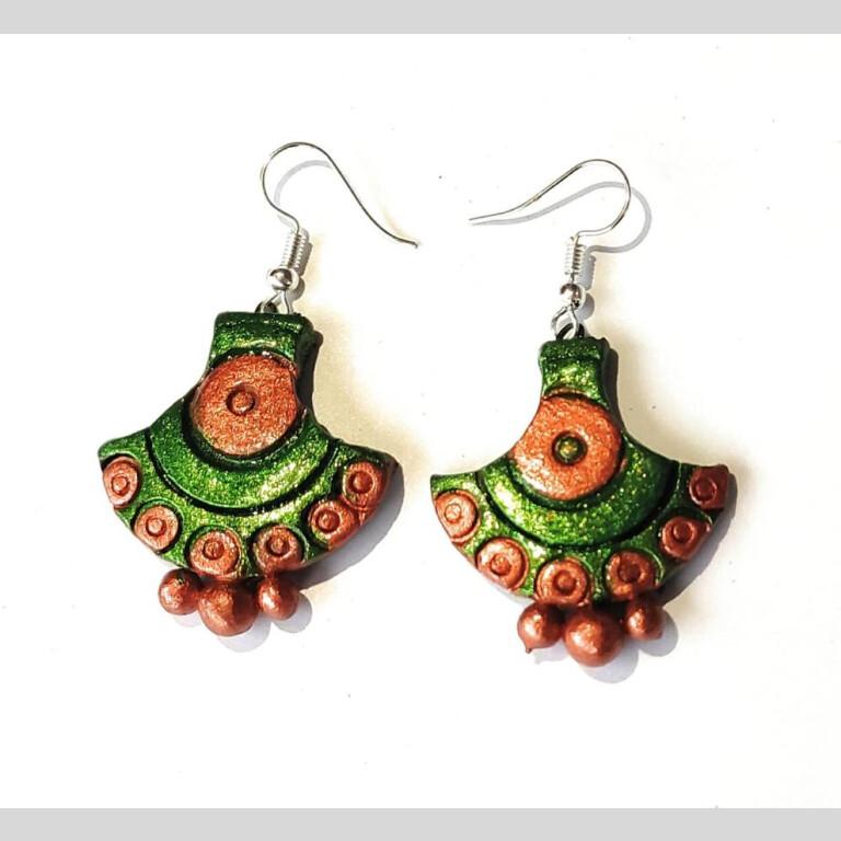 Arc Shaped Terracotta Earrings   Arc Shaped Green Earrings