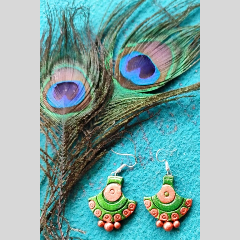 Arc Shaped Green Terracotta Earrings