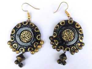 Golden Black Contemporary Earrings