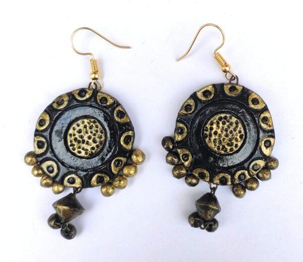 Golden Black Contemporary Earrings