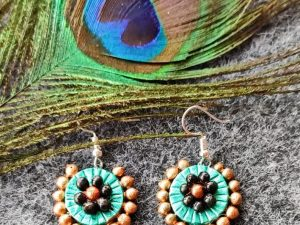 Blue Diamond Shaped Terracotta Earrings