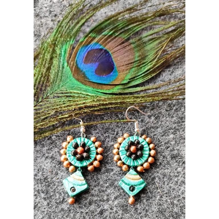 Blue Diamond Shaped Terracotta Earrings
