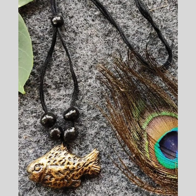 Fish Design Golden Coated Terracotta Pendant