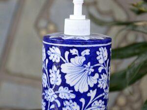 Blue Pottery Blue White Floral Handmade Soap Dispenser