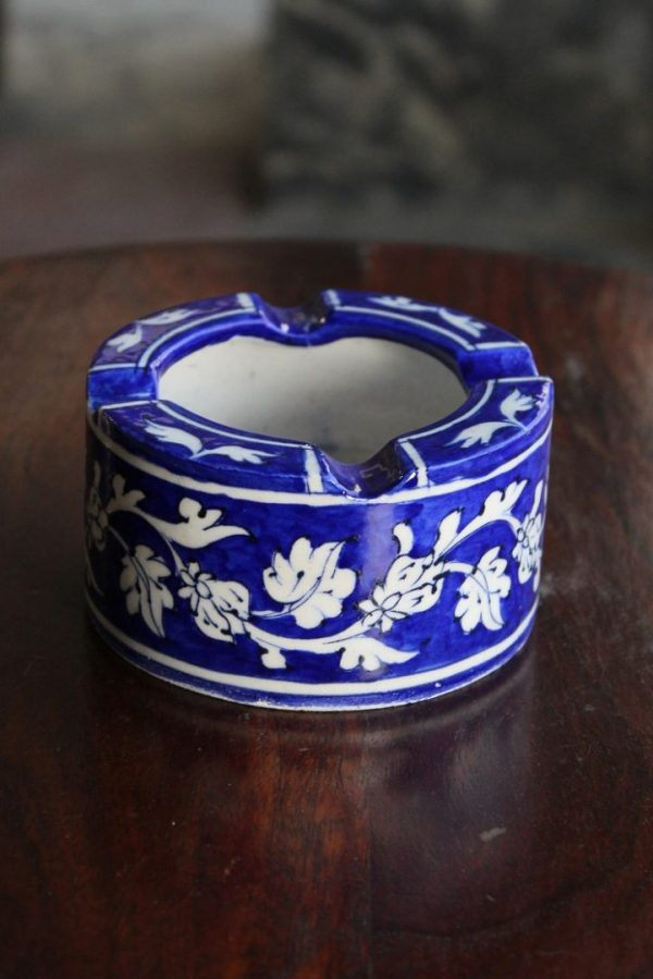 Handcrafted Blue White Floral Ash Tray