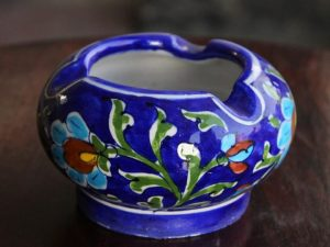 Blue Pottery Handcrafted Floral Ash Tray