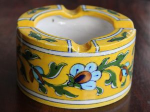Handcrafted Yellow Floral Ash Tray