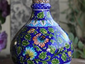 Blue Pottery Floral Pitcher Vase