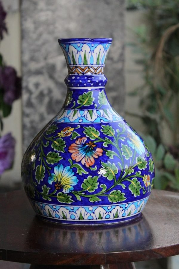 Blue Pottery Floral Pitcher Vase