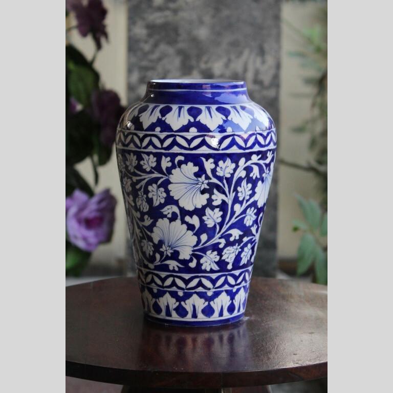 Blue Pottery Blue Floral Decorative Vase