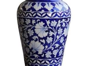 Blue Pottery Blue Floral Decorative Vase