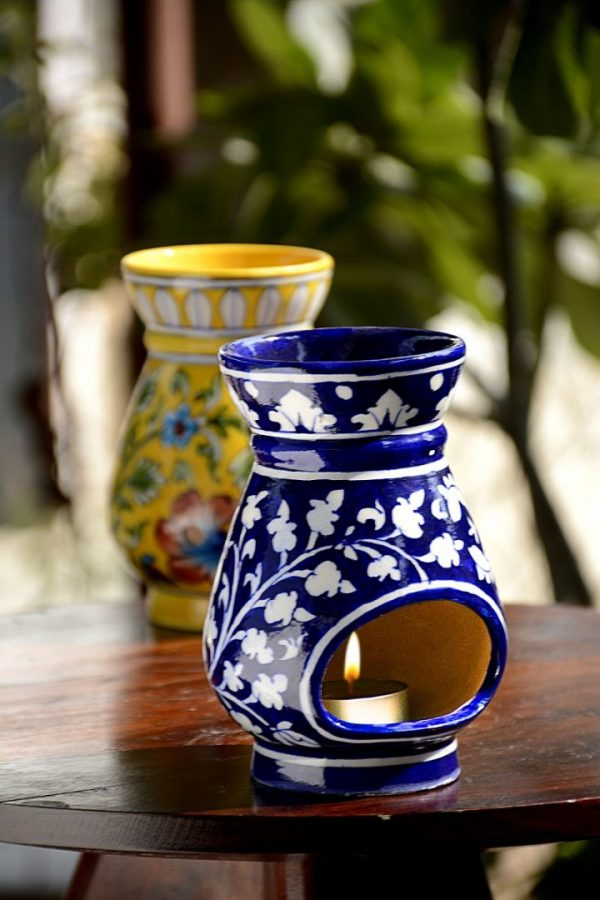 Blue Pottery Blue Floral Oil Burner
