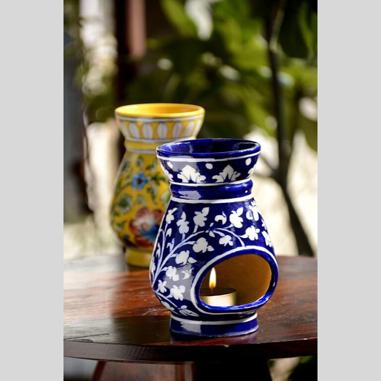 Blue Pottery Blue Floral Oil Burner