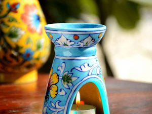 Pottery Turquoise Floral Small Oil Burner
